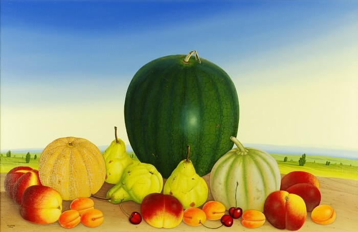 Still life with three melons