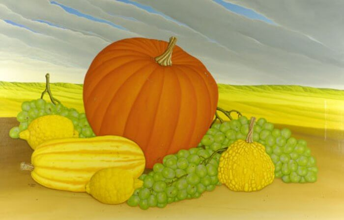 Still life with three pumpkins