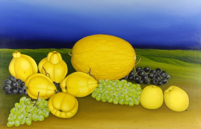 Still life with melon and quinces