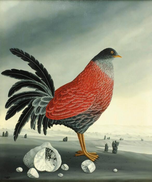 Bird with stones
